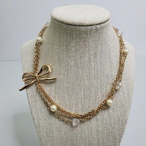 Bow Necklace Faux Pearl Gold Tone Chain Multi Stra